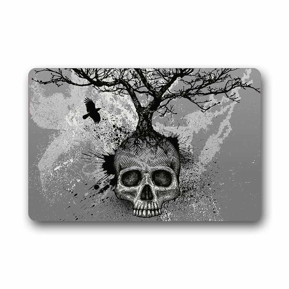 Mugod Custom Skull Tree Black Eagle Machine Washable Top Fabric Non-slip Rubber Indoor Outdoor Home Office Bathroom Doormat Size 23.6x15.7