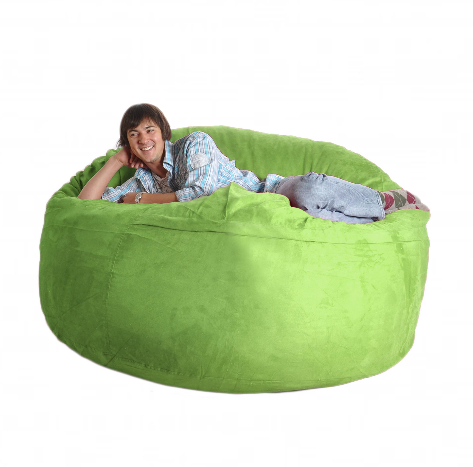 SLACKER sack 6-Feet Memory Foam Microsuede Beanbag Chair, Lime