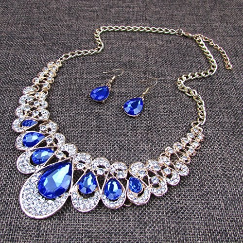 Crystal Glass Water Droplets Large Stones Necklace and Stud Earrings Set for Women (blue) - http://coolthings.us