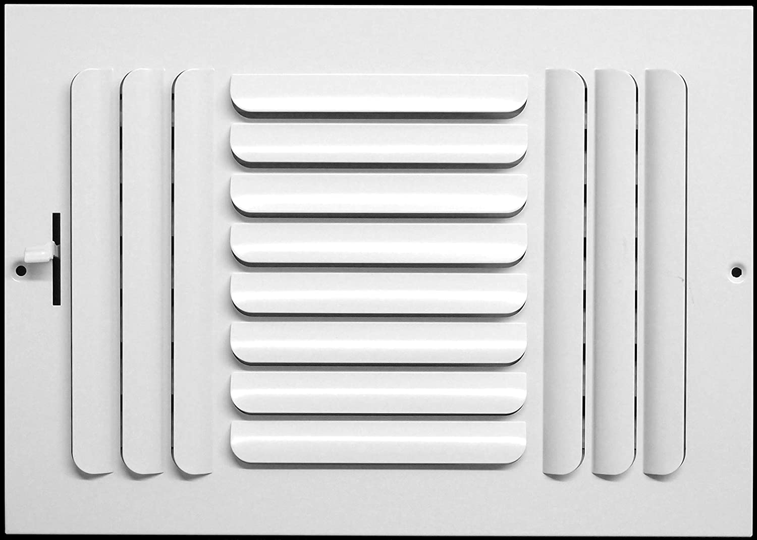 """12""""w x 6""""h 3-Way Fixed Curved Blade AIR Supply Diffuser - Vent Duct Cover - Grille Register - Sidewall or Ceiling - High Airflow - White"""