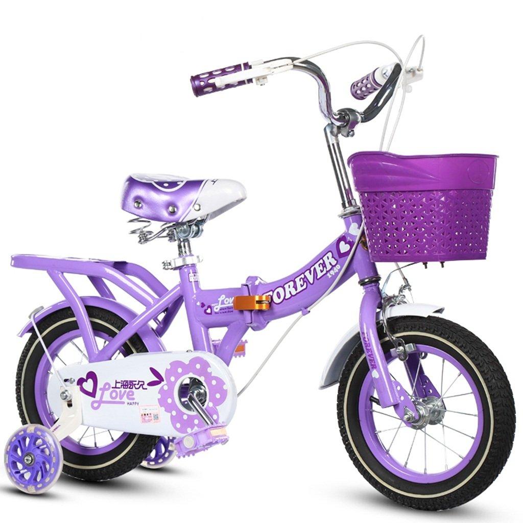 CSQ 折りたたみ自転車、男の子、女の子自転車自転車小児用自転車3-11歳の赤ちゃん補助ホイール自転車88-121CM 子供用自転車 (色 : パープル ぱ゜ぷる, サイズ さいず : 100CM) B07DQ766QV 100CM|パープル ぱ゜ぷる パープル ぱ゜ぷる 100CM