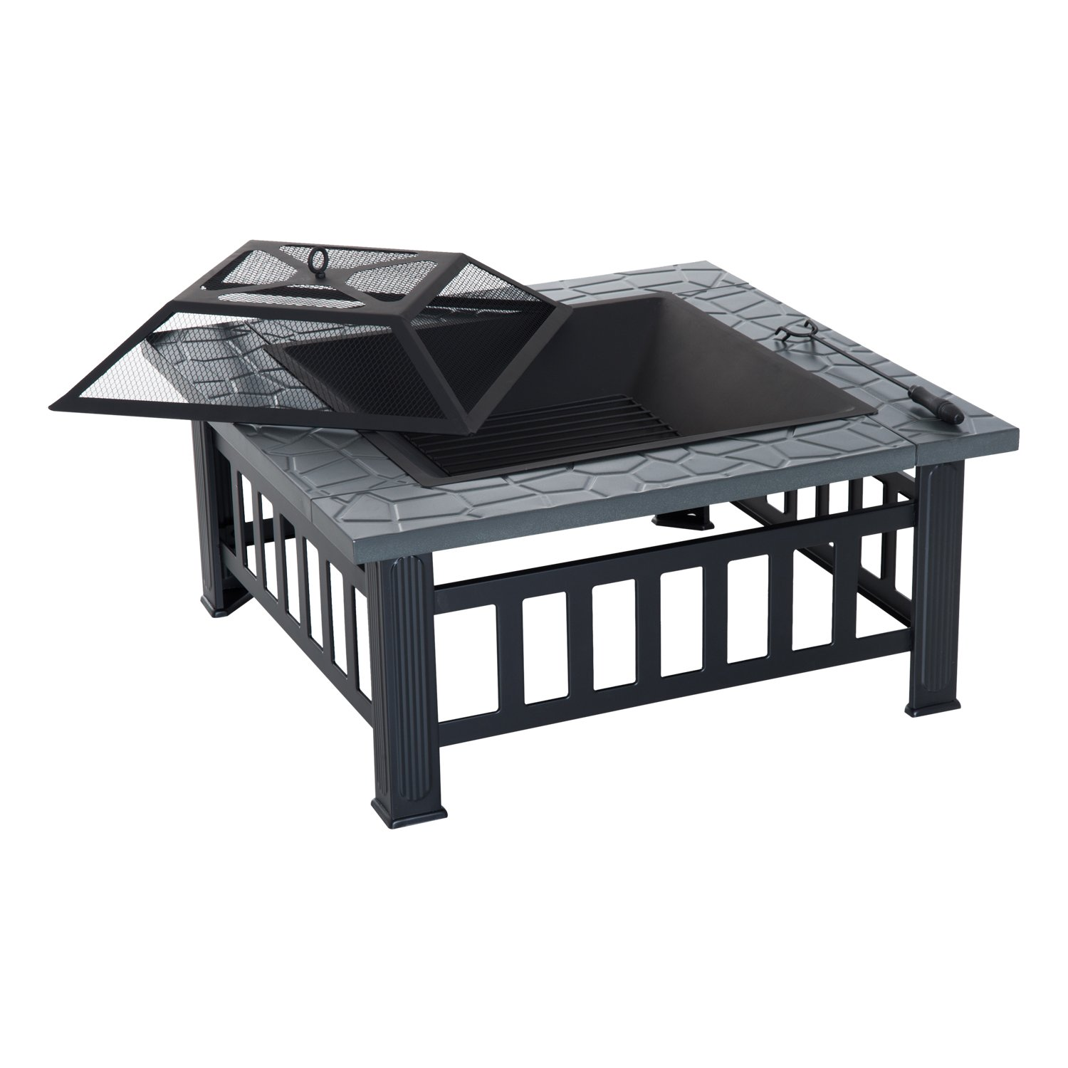 Outsunny 32'' Steel Square Outdoor Patio Wood Burning Fire Pit Table Top Set by Outsunny