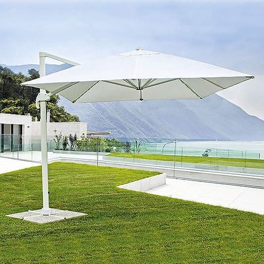 FP-TECH - Sombrilla de jardín orientable a 360 °, Poste de Aluminio, Struttura Bianca e Telo Bianco: Amazon.es: Jardín