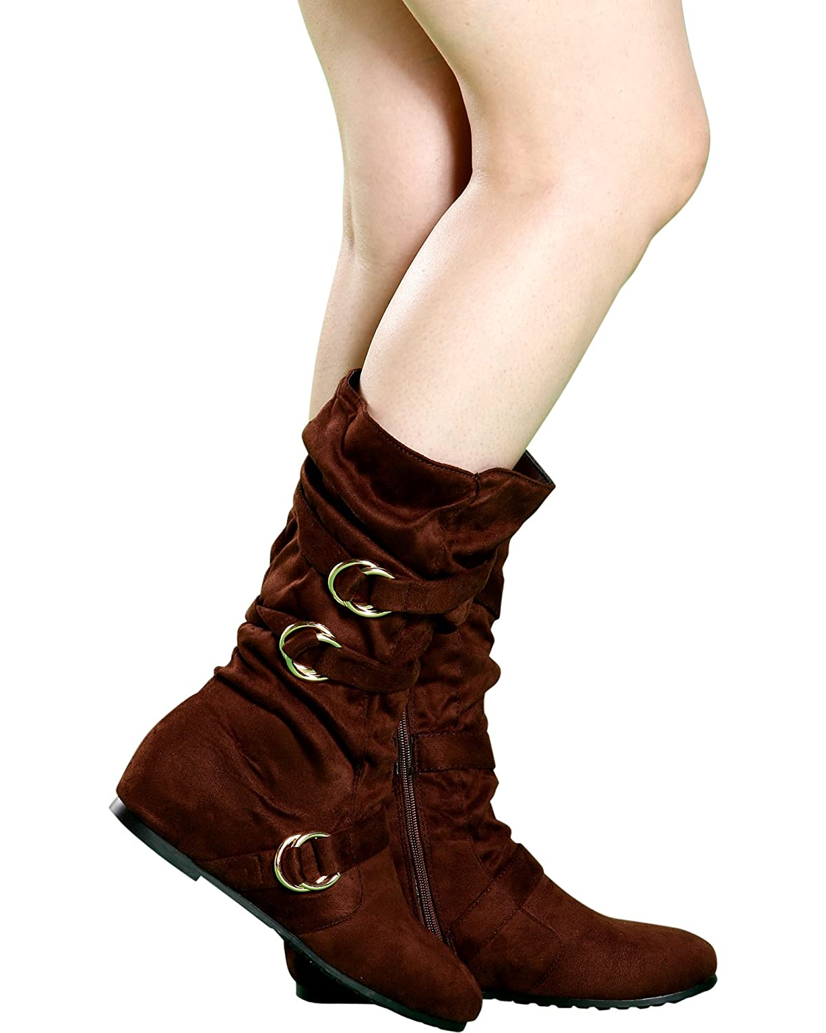 Black FOREVER Womens Casual Almond Toe 3 Silver Buckle Mid-Calf Zip Up Hidden Wedge Boot