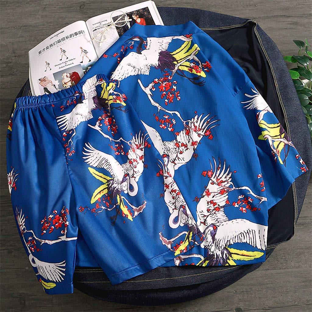 Fashion 2-Piece Suit for Men SFE Mens Printed Spa Service Pajamas Home Service Set Kimono Hot Spring Clothing