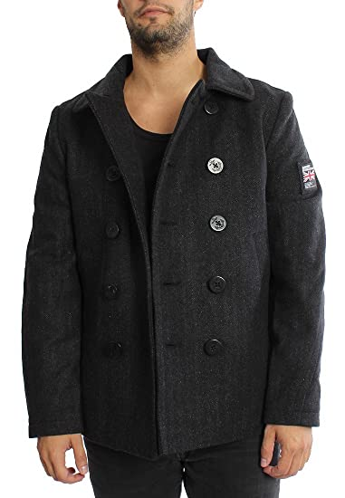 new style 1aca5 2b56a Superdry Mantel Men Rookie Peacoat Charcoal Herringbone ...