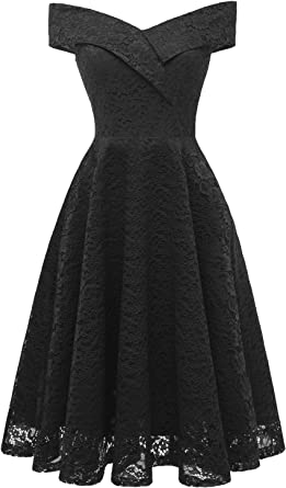 Womens 1960s Vintage Floral Lace Half Sleeve Boat Neck Cocktail Party Swing Dress with Belt