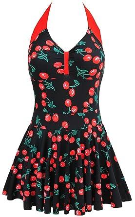 2e9629548ba40 CRAVOG Women's Plus Size One Piece Swimwear Cherry Print Padded Skirt  Swimsuit