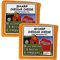 WISCONSIN CHEESE COMPANY'S - 100% Wisconsin Sharp Cheddar Cheese Blocks (2 Pack Approx. 1.5lb)   Famous Quality Cheese   Great for Cheese and Crackers or as A Cheese Gift to Send!