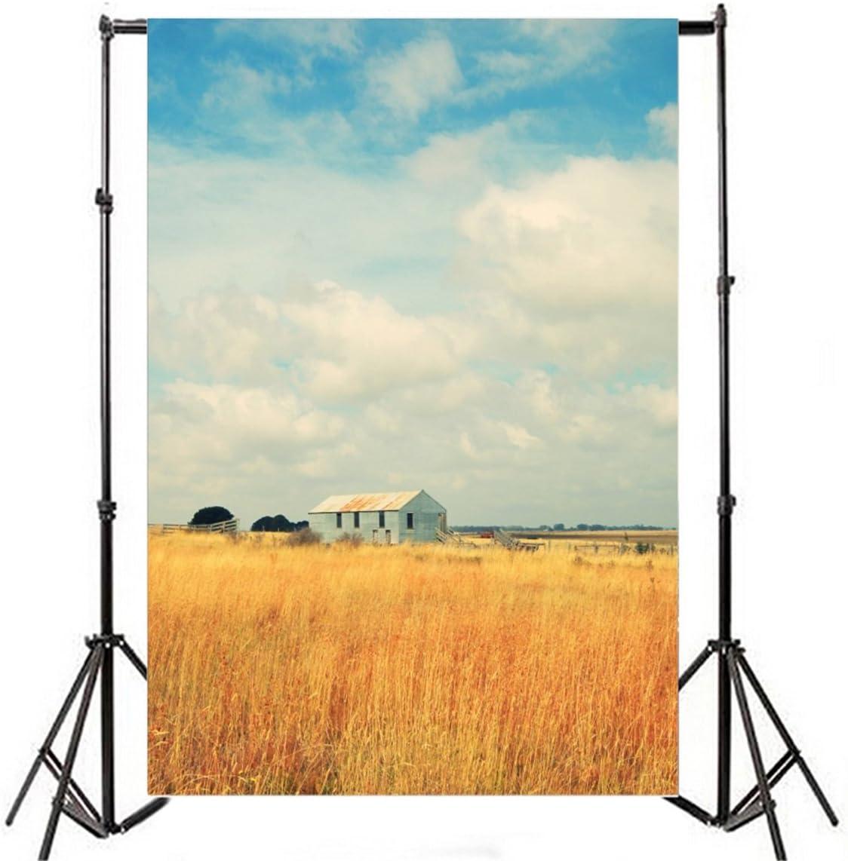 ALUONI 5x3ft Rustic,Crops Under Sun Wheat Field Rustic Farm Theme Idyllic Photography Backdrop Photo Backdrops Portrait Background Studio Props AM028293