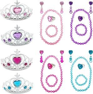 Elesa Miracle Girl Kids Dress Up Tiaras Necklace Bracelet Clip on Earrings Toy Playset, Pink,Purple,Blue