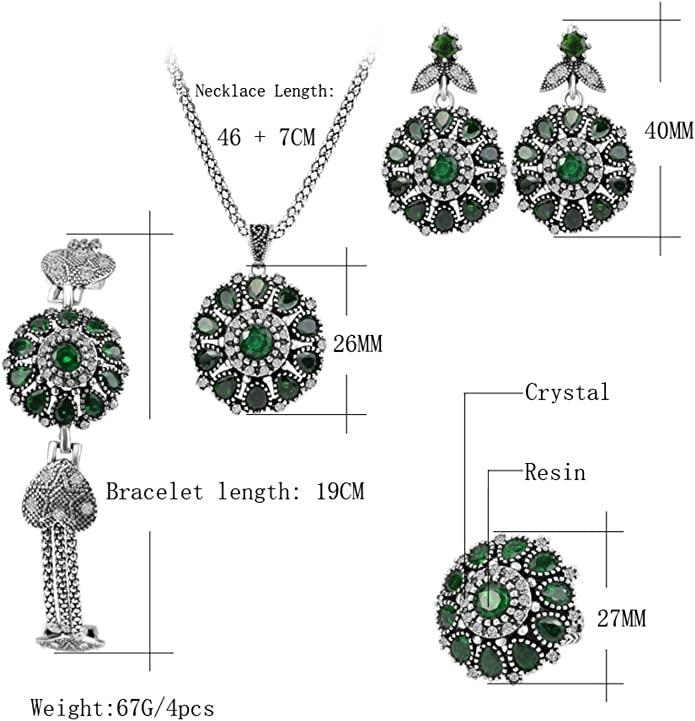 Urban Lipi Handmade Classic Vintage Jewelry Sets Necklace /& Earrings Crystals Sculpture Flower With Gift Box
