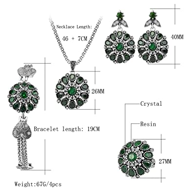 717a4089a1f Image Unavailable. Image not available for. Color: Urban Lipi Hot Luxury  4Pcs Vintage Jewelry Sets Silver ...