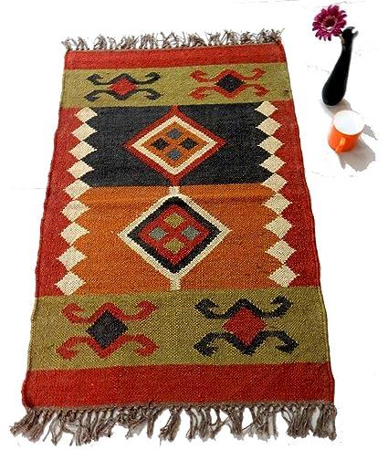 Amazon.com: Handmade Rustic Wool Jute 2x3 Handwoven Carpet ...