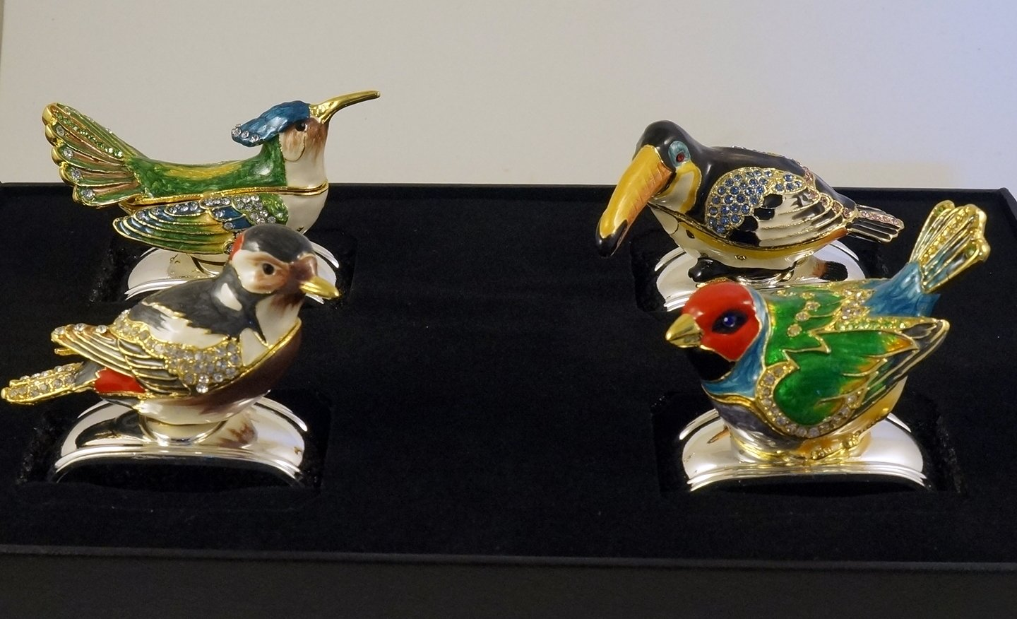 Hans Turnwald Set of Four Silver Plated Napkin Rings with Jeweled Tropical Birds