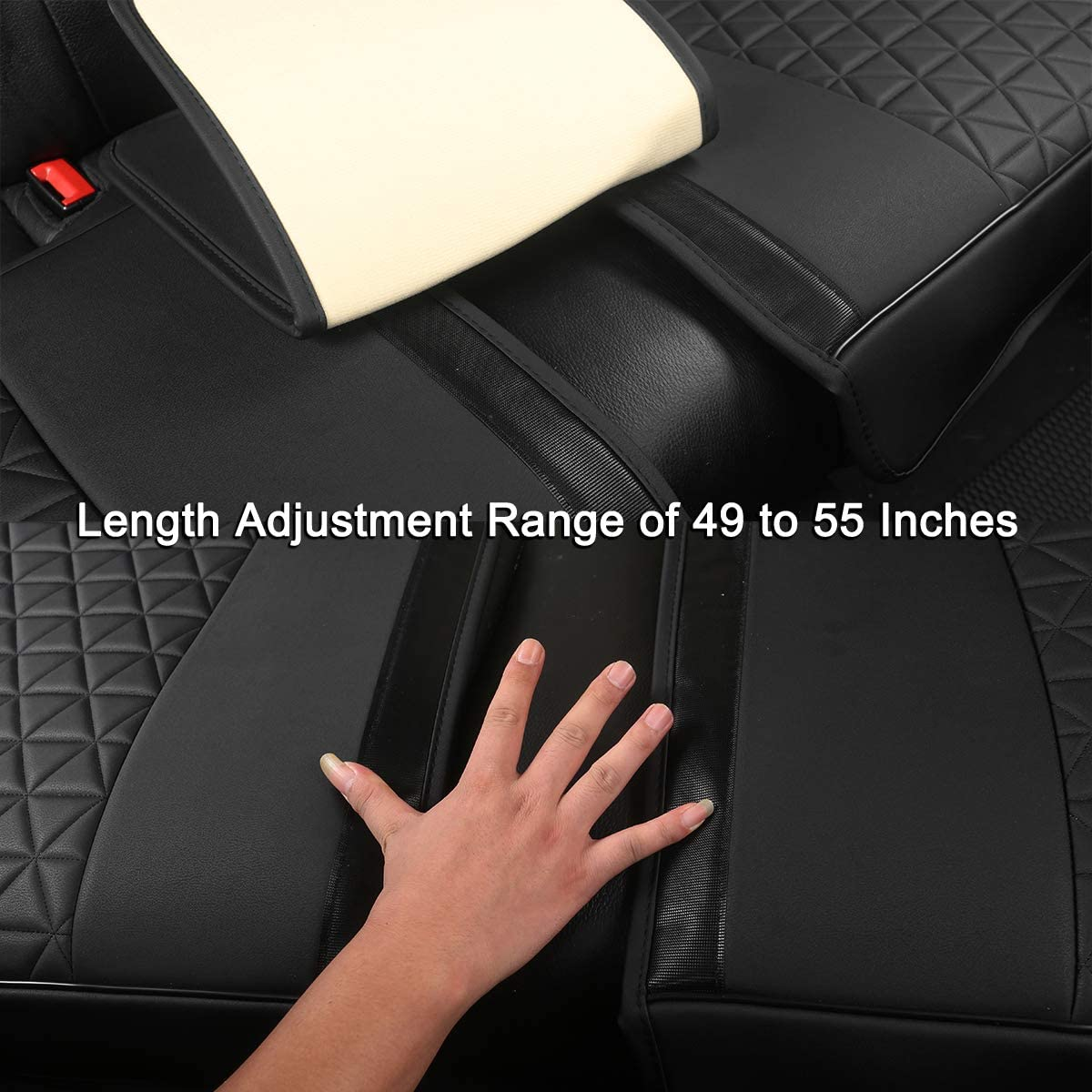 Sedan SUV Truck Back Seat Protector Fits 90/% Vehicles 49-55 for Seat Bottom Only,Triangle Quilting Design,Beige Black Panther Luxury PU Leather Rear Car Seat Cover Adjustable Length