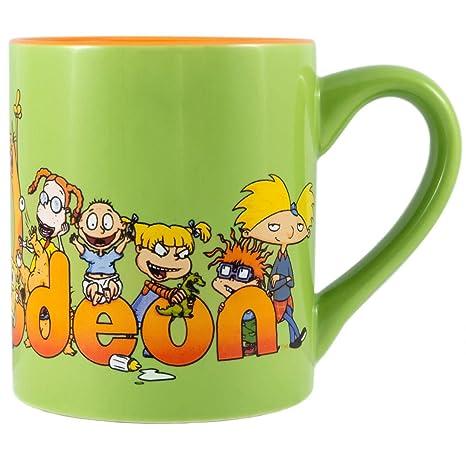 Silver Buffalo NI121532 Nickelodeon 90's Logo and Characters Ceramic Mug,  14 oz, Multicolor