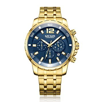 Megir Relojes De Pulsera para Hombre Top Relojes De Marca De Lujo Ejército Militar Reloj Deportivo Correa De Acero Cuarzo Fecha Hombres Reloj Masculino 2068 ...