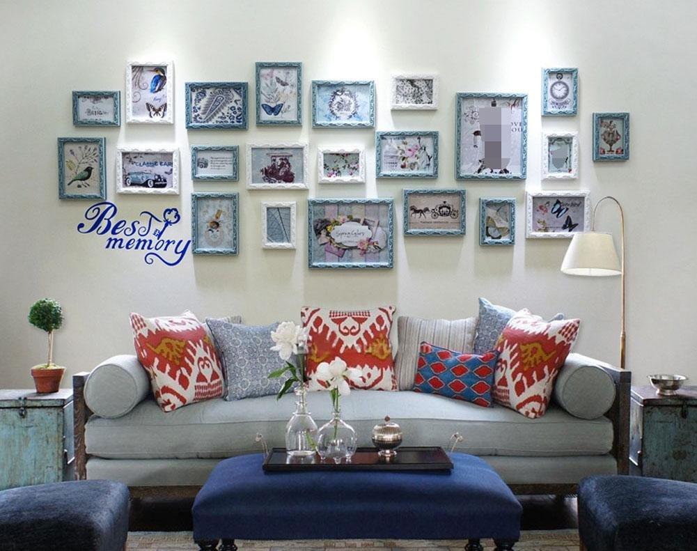 ZZZSYZXL Einfache, moderne Massivholz Fotowand Rahmen 22 kreative Sofa Photo Wand , blue