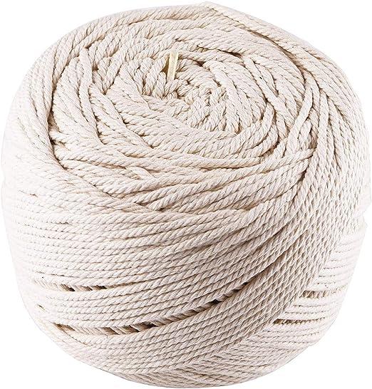 Lawei - Cuerda Trenzada de algodón Natural de 3 mm x 200 m para ...