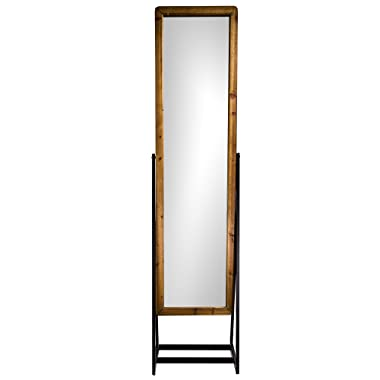 American Art Decor Rustic Wood Metal Framed Cheval Style Standing Mirror (69 )