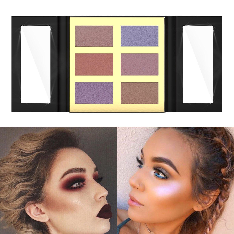 Paleta de resaltado de 6 colores Shimmer y mate Paleta de maquillaje resistente al polvo de Highlighter en tiempo real por Pretty Comy