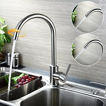 KINSE 360° Schwenkbar Küchenarmatur Küche Wasserhahn Aus SUS304 Edelstahl  Einhebelmischer Spüle Armatur Spültischarmatur Mischbatterie Mit