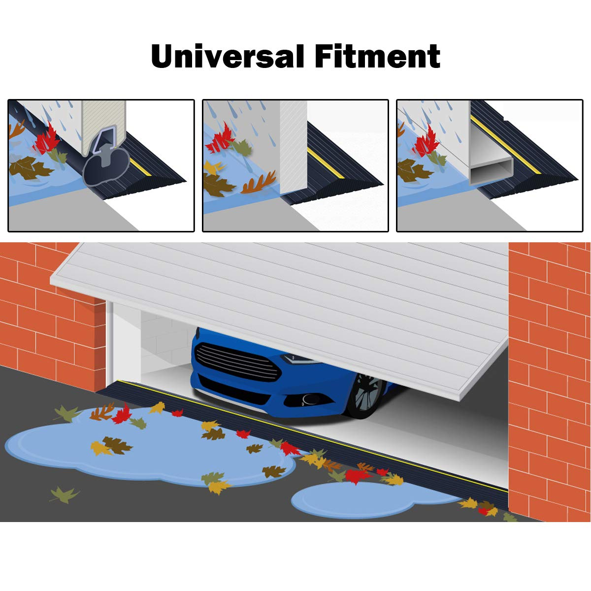 Adust Garage Door Threshold Seal Heavy Duty Bottom Rubber Flexible 20 Ft Waterproof Floor Buffer Seal Weather Stripping