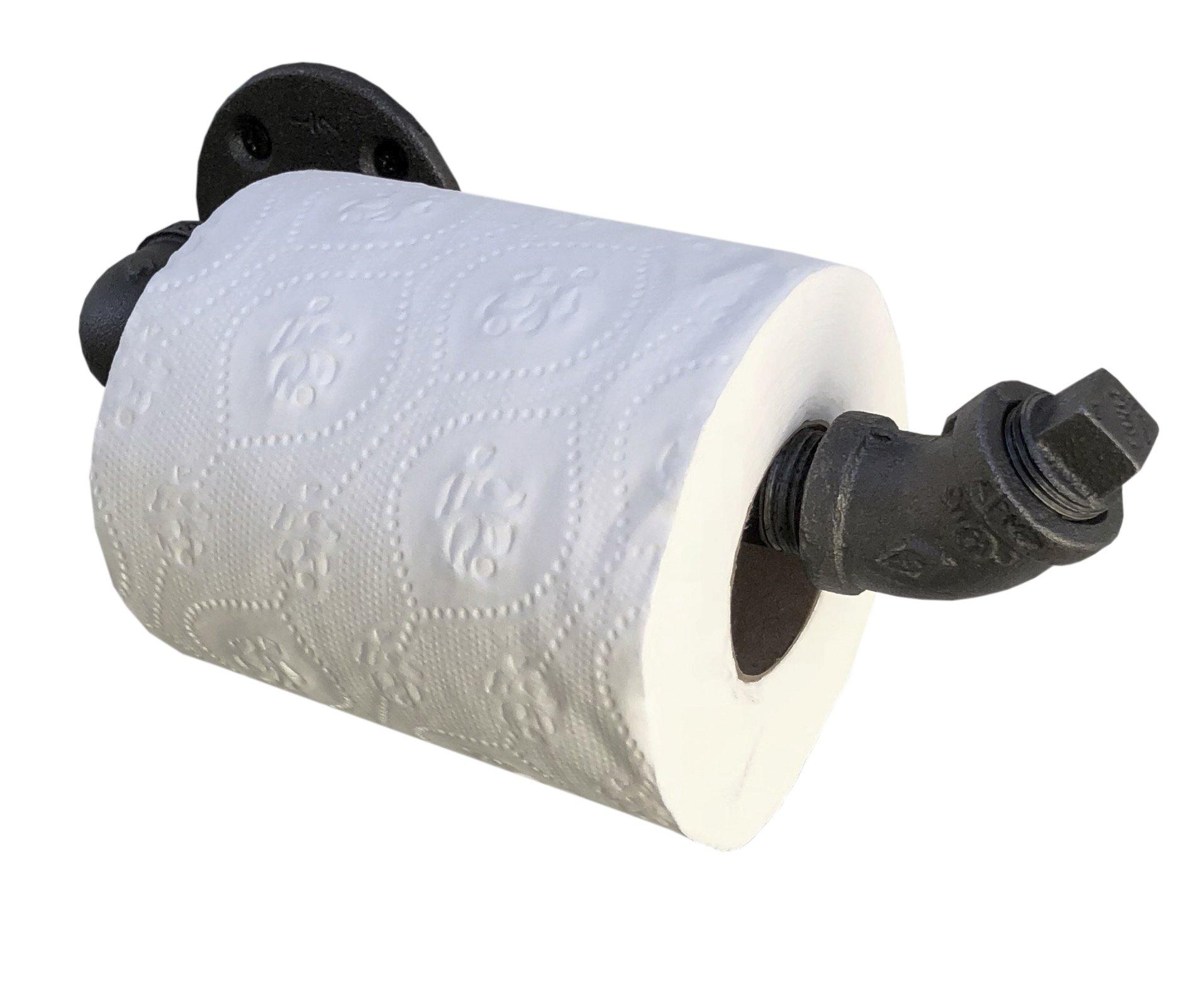 DIY CARTEL Industrial Pipe Toilet Paper Holder Black Malleable Iron - Heavy Duty - Perfect Modern, Minimalist, Rustic, Steampunk Industrial Furniture 3