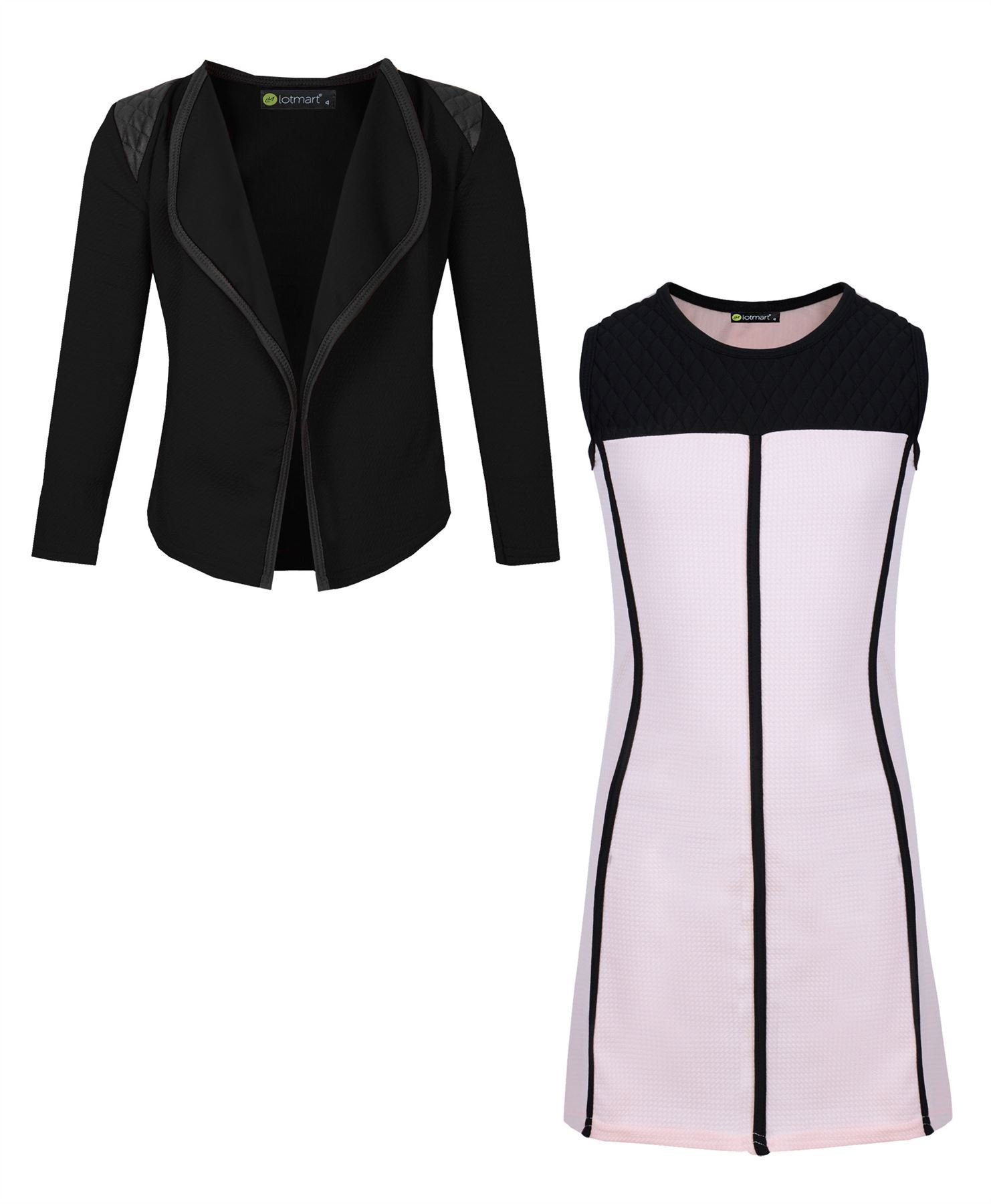 LotMart Girls Piping Dress and Blazer Bundle (Pack of 2) in Peach and Black 3-4 Years