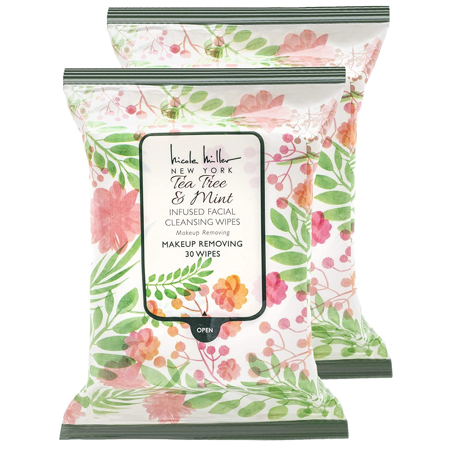 Nicole Miller 2 Pack (30 Count Each) Tea Tree and Mint Facial Cleansing and Make Up Remover Wipes