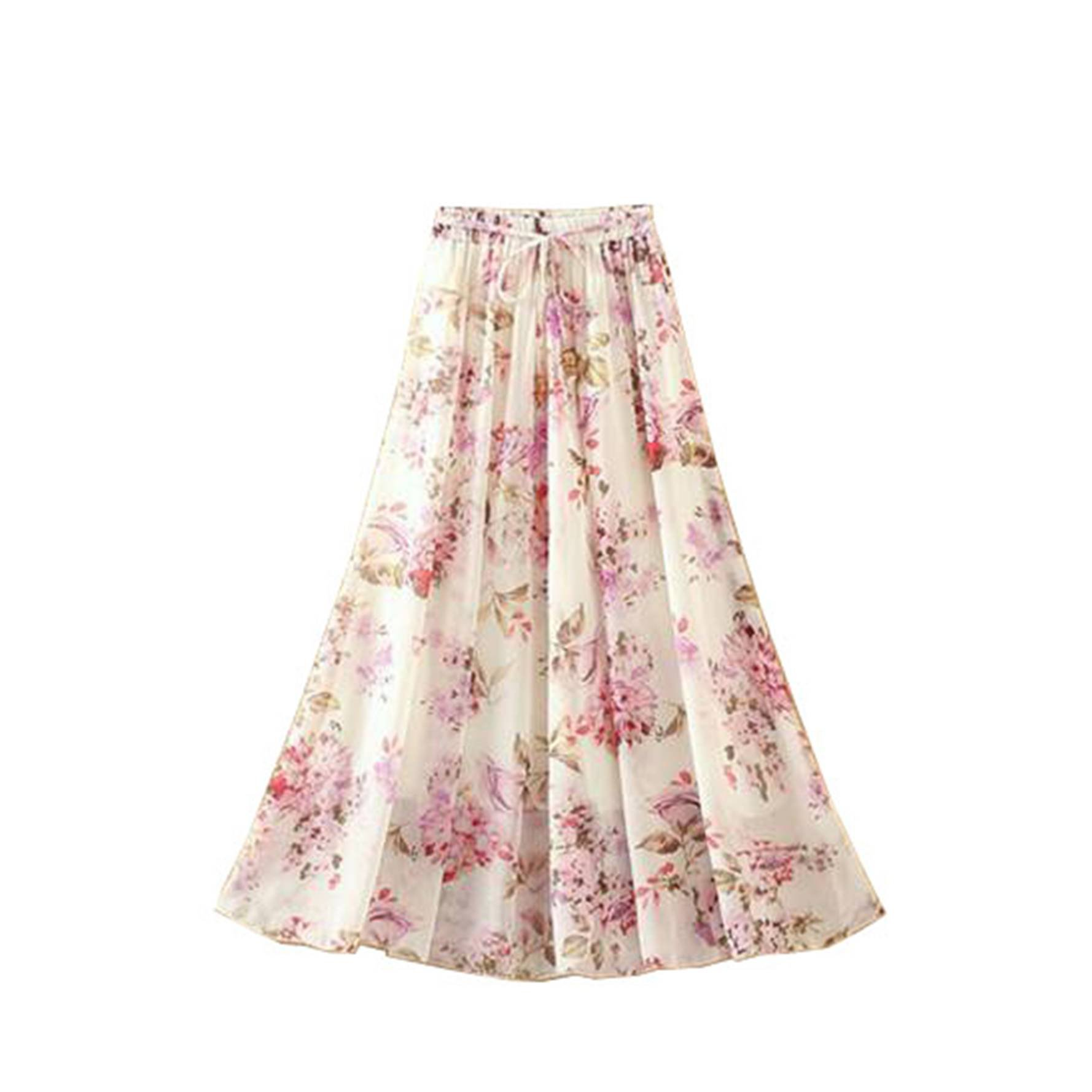 Kaxuyiiy Women's Boho Flower Print 2 Layer Beach Party Maxi Long Pleated Skirt (Pink Flower)