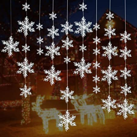 Turelifes 5 Pieces 5 Size White Christmas Snowflake decorations Plastic  Glittered Snowflakes Christmas Tree Ornaments Hanging Décor for Holiday  Party