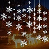 Turelifes 72 Pieces 5 Size White Christmas Snowflake decorations Plastic Glittered Snowflakes Christmas Tree Ornaments Hanging Décor for Holiday Party
