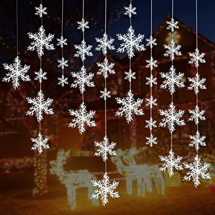 Turelifes 72 Pieces 5 Size White Christmas Snowflake Decorations Plastic Glittered Snowflakes Christmas Tree Ornaments Hanging Decor For Holiday