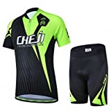 Ateid Children Boys' Girls' Cycling Jersey Set Short Sleeve with 3D Padded Shorts