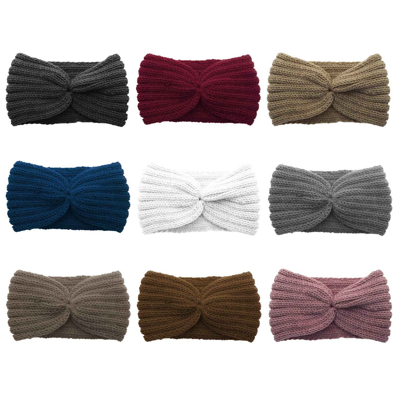 GOGO 9 PACK Knitted Headbands Criss Cross Head Wrap Ear Warmer (9 Colors)-Assorted