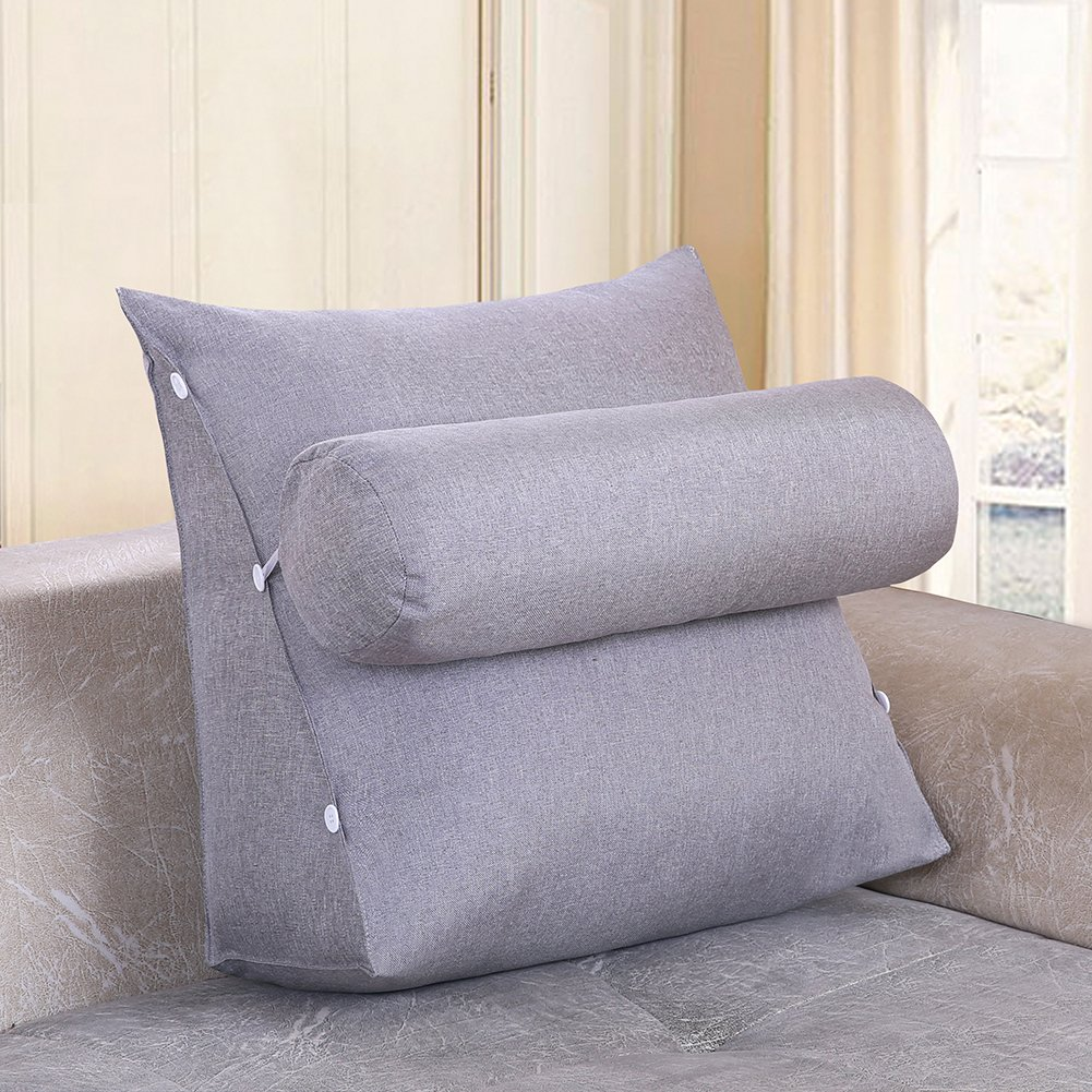 YXCSELL Adjustable Flip Pillow Sofa Filled Triangular Wedge Cushion for Couch Bed Chair Backrest with Pocket Positioning Support Pillow Reading Office Lumbar Pad with Removable Cover