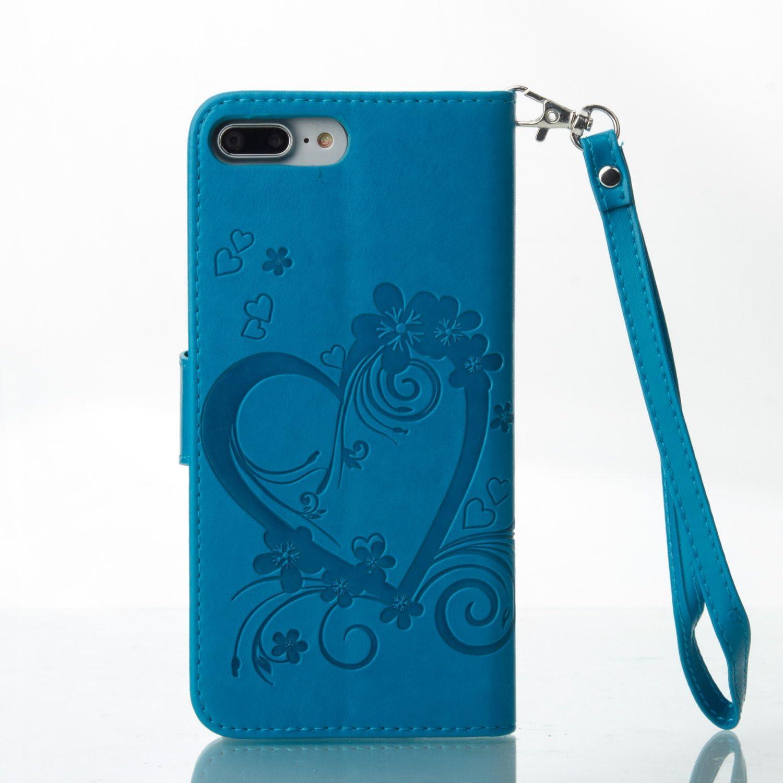 H/ülle Leder Case mit Standfunktion Magnetverschluss Flipcase Klapph/ülle kompatibel mit Apple iPhone 8Plus//7Plus DORXZ020036 Blau Docrax iPhone 8 Plus//7 Plus Handyh/ülle