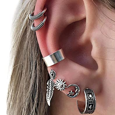 Lethez Bohemia Retro Silver Ear Clip Stud Dangle Earrings Set Ladies Girl  Fashion Punk 38c1817db4bc