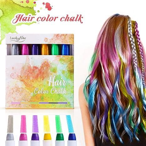 Haarkreide, Luckyfine Temporäre Haarfarbe Non-Toxic 6 Farben Kinder Auswaschbar Haare Kreide Stifte, Perfektes Geschenk für G