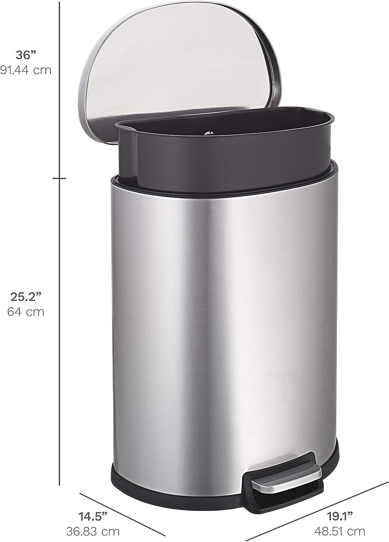 NINESTARS AMZ-SOT-50-3 Step-on Trashcan, 13 Gal, STAINLESS STEEL: Home & Kitchen