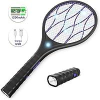 YISSVIC Raqueta Mosquitos Eléctrica,Raqueta Matamoscas Eléctrica,Recargable por USB,Mango