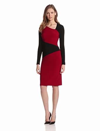 KAMALIKULTURE Women's Asymmetrical Dress, Black/Red Combo, X-Small