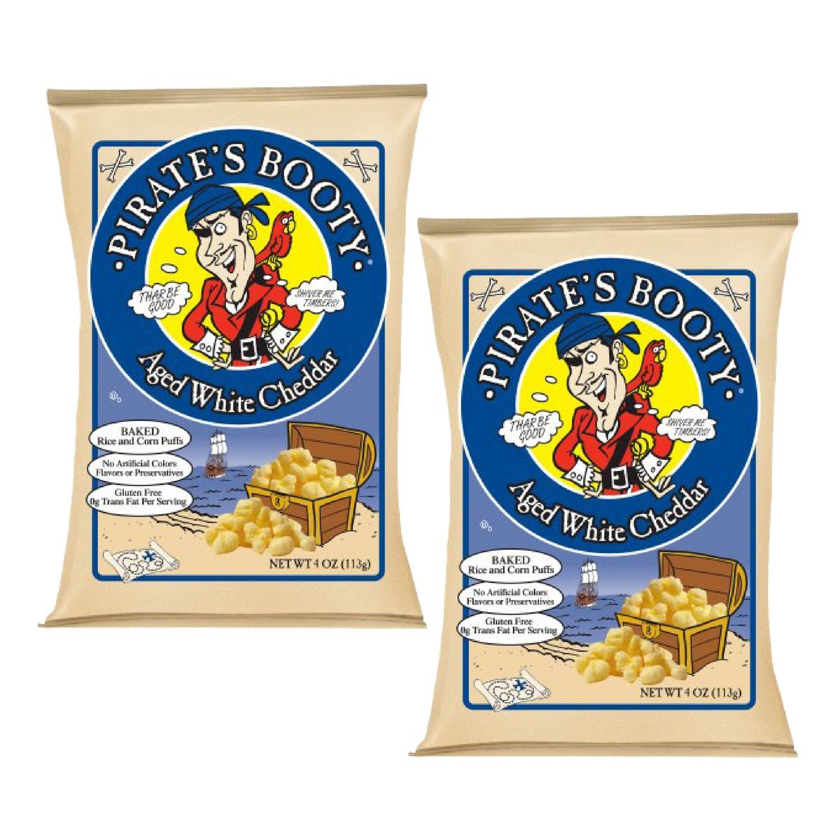 Pirate's Booty, Aged White Cheddar, 4-Ounce Bags (Pack of 2) by Pirate's Booty