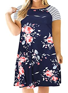 a25ae128c36b Nemidor Women s Floral Print Casual Sleeved A-line Loose Plus Size T-Shirt  Dress