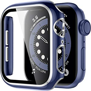 GEAK Case with HD Screen Protector Compatible for Apple Watch 38mm Series 3/2/1, Blue Bumper Full Coverage Silver Edge HD Ultra-Thin Cover Compatible with iWatch Screen Protector 38mm Blue/Silver