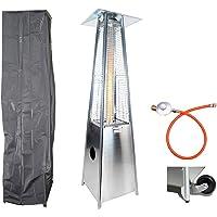 Traedgard® Chauffage de terrasse à gaz design Pyramide « Lanzarote » avec détendeur, roulettes et housse de protection , 190 cm de hauteur (66696)