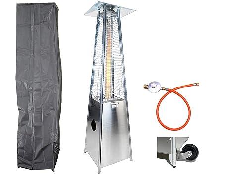 Traedgard® Calentador pirámide Lanzarote Edel en acero inoxidable con ruedas exteriores, 190 cm,