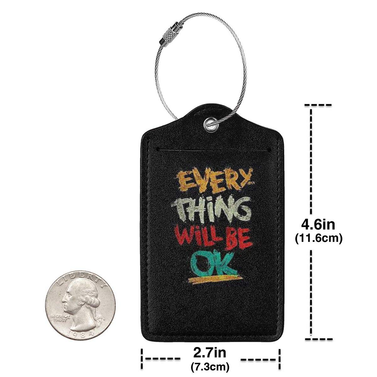 Fashion Every Thing Will Be Ok Soft Leather Luggage Tags With Privacy Cover 1-4 Pcs Choose Suit For Travel,Vacation
